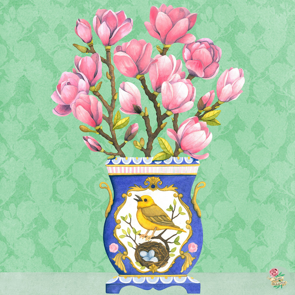 Magnolias & Yellowhammer watercolour painting in Handpainted Vase by Susie Batsford