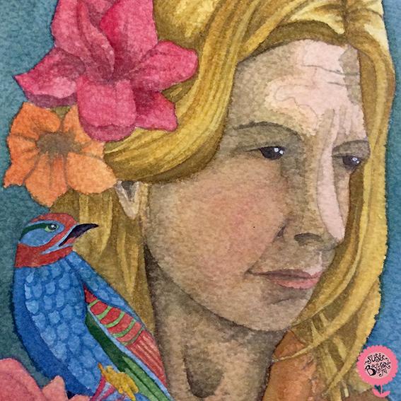 Susie Batsford Watercolour Painting Self Portrait