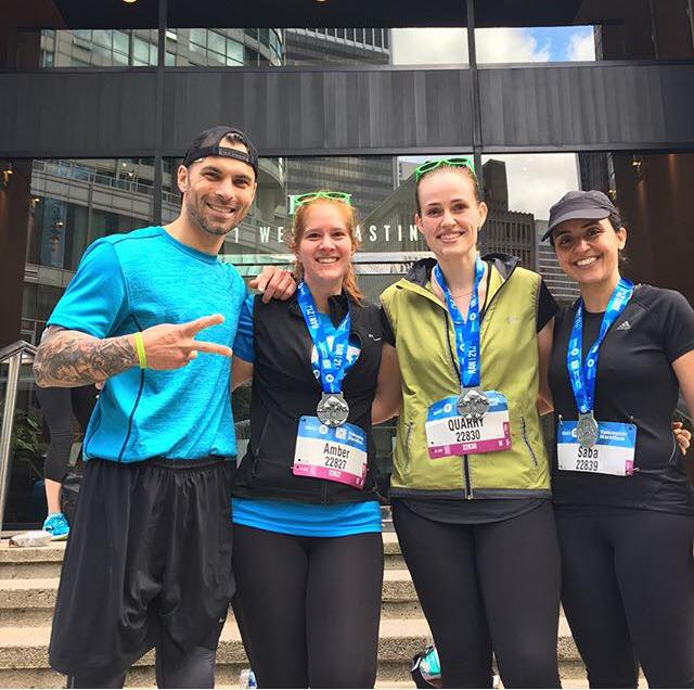 Scott, Amber, Rhian and Saba are all smiles after completing the BMO 1/2 Marathon in 2017.