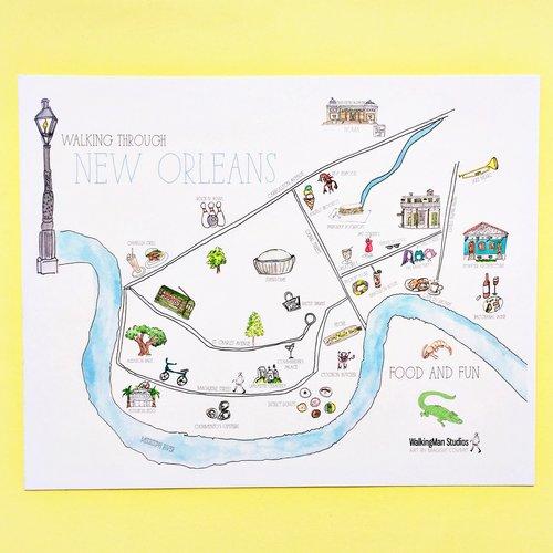 Walking Through New Orleans Illustrated Map — WalkingMan Studios