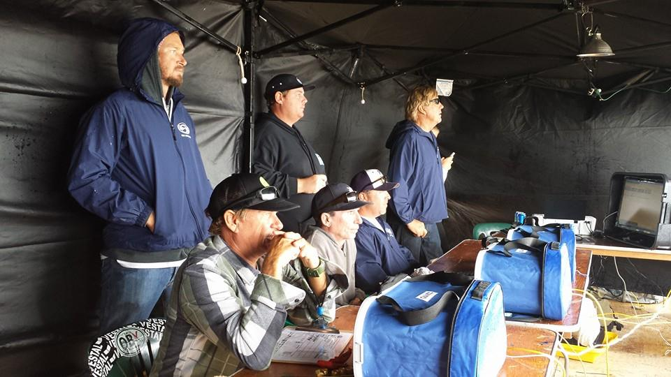 Brandon Russell (standing), Barry Pasonski, Chip hall, Travis Williams, Chris Burnette, and Tom Leonik at ESA Easterns in Outer Banks, NC in 2014 Photo: David Portch