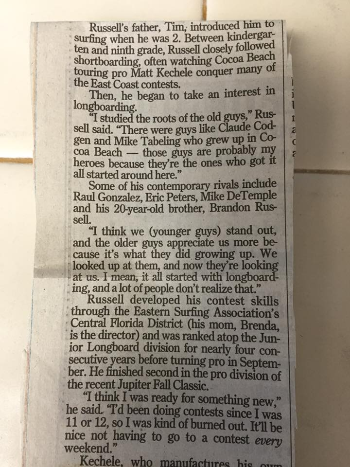 A newspaper article on Brent Russell, Circa 2002
