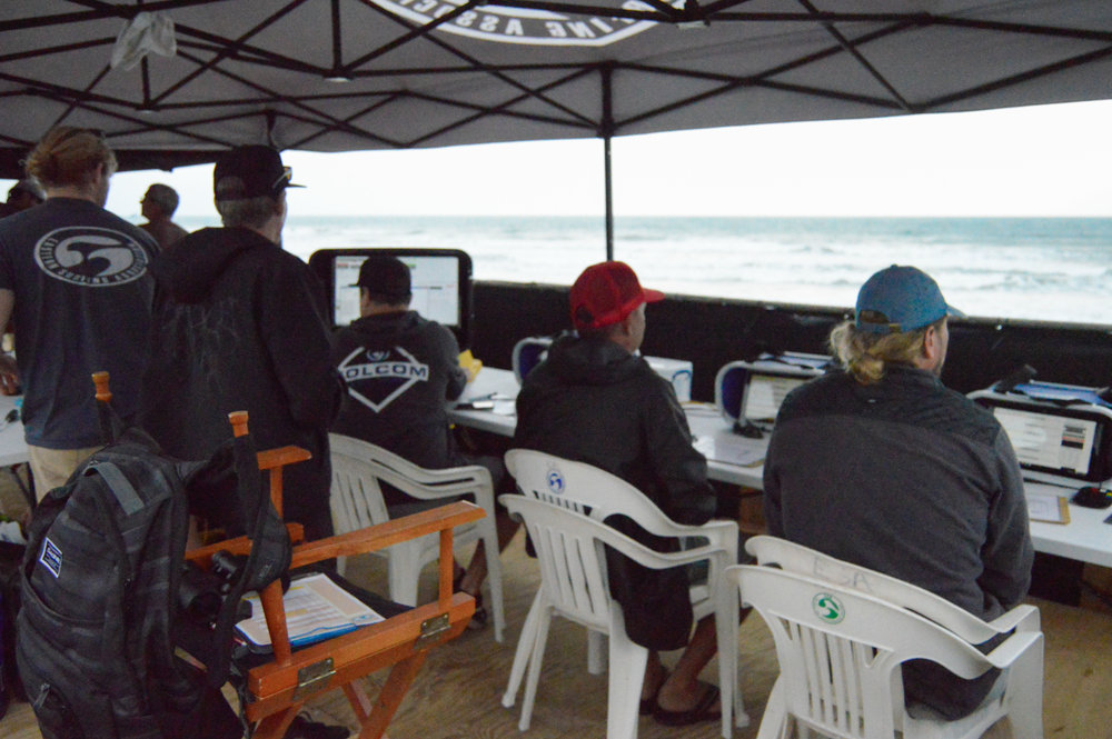 Dylan O'Donnell (running the computer system), Chip Hall (judge), Jeremy Saukel (judge), Barry Pasonski (judge), and Brandon Russell (judge) judging the ESA South East Regional Surfing Championships at Paradise Beach, FL in 2018. (Not pictured: Head Judge Gordon Lawson)