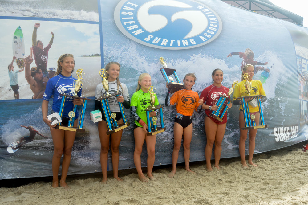 Girls U14 division winners at the ESA South East Regional Surfing Championships of 2018  1st place: Taylor Green, 2nd place: Sarah Abbott, 3rd place: Sophia Kalantzis, 4th place: Niyah Rosen, 5th place: Maddie Franz, 6th place: Savannah Love