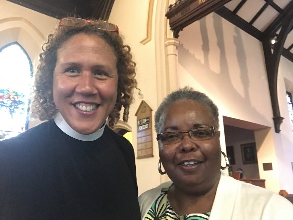 Rev. Anne-Marie with the great great grandaughter of Thomas Mundy Peterson