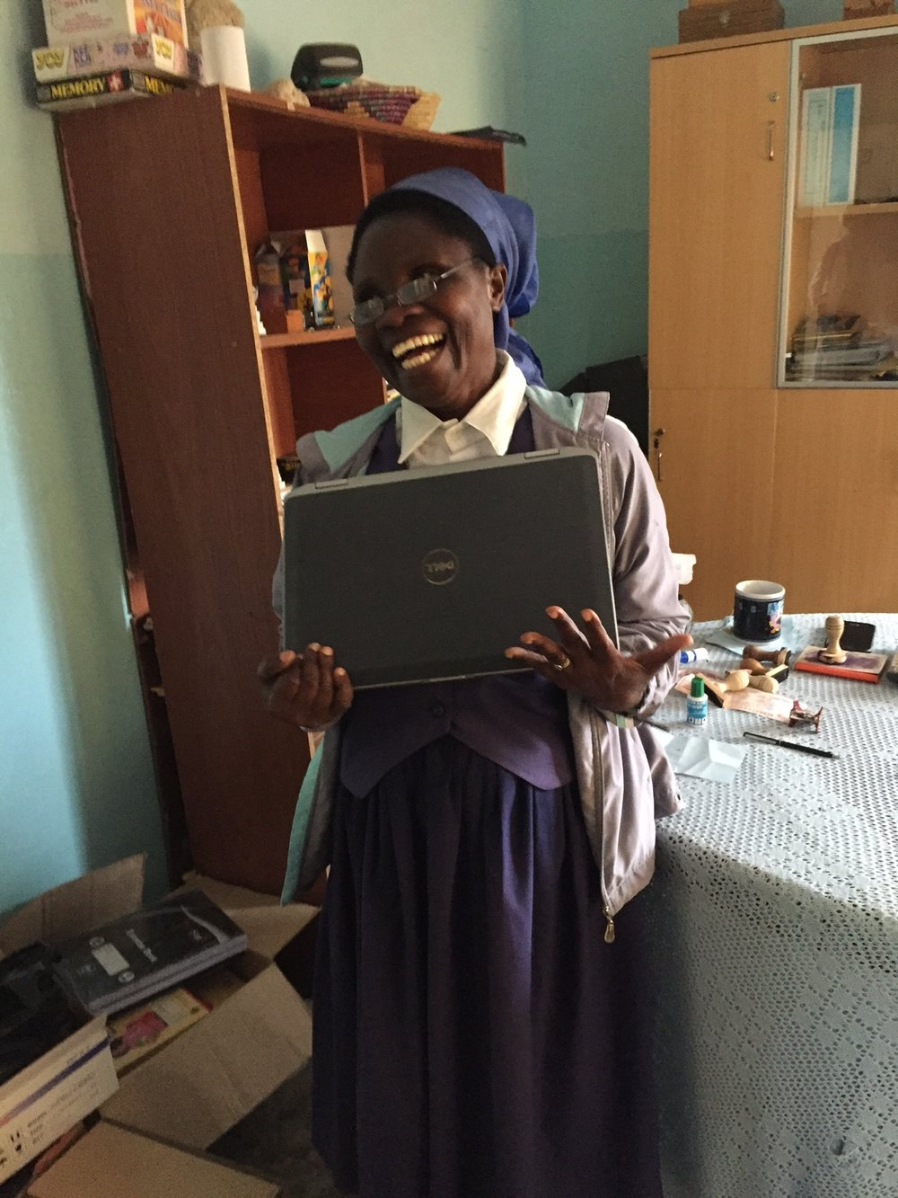 Thanks to Greens Farms Academy and Zeta Interactive, we now have 15 laptops to serve the orphans who are enrolled in university and the SJO/Heaven school staff and computer lab. We are always seeking more laptops. If you have a used one that is still in good working order, please let me know at anne@uniteafricafoundation.org