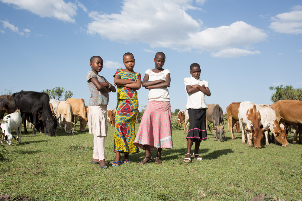 "Pictured here, four of the hundreds of girls we will be meeting who have fled the traditional barbaric practice of female genital mutilation (FGM) and found refuge at the  Hope for Girls Safe House i n Western Serengeti. Photo credit:  ""In The Name of Your Daughter ,"" a new award winning documentary by internationally renowned filmmaker Giselle Portenier."
