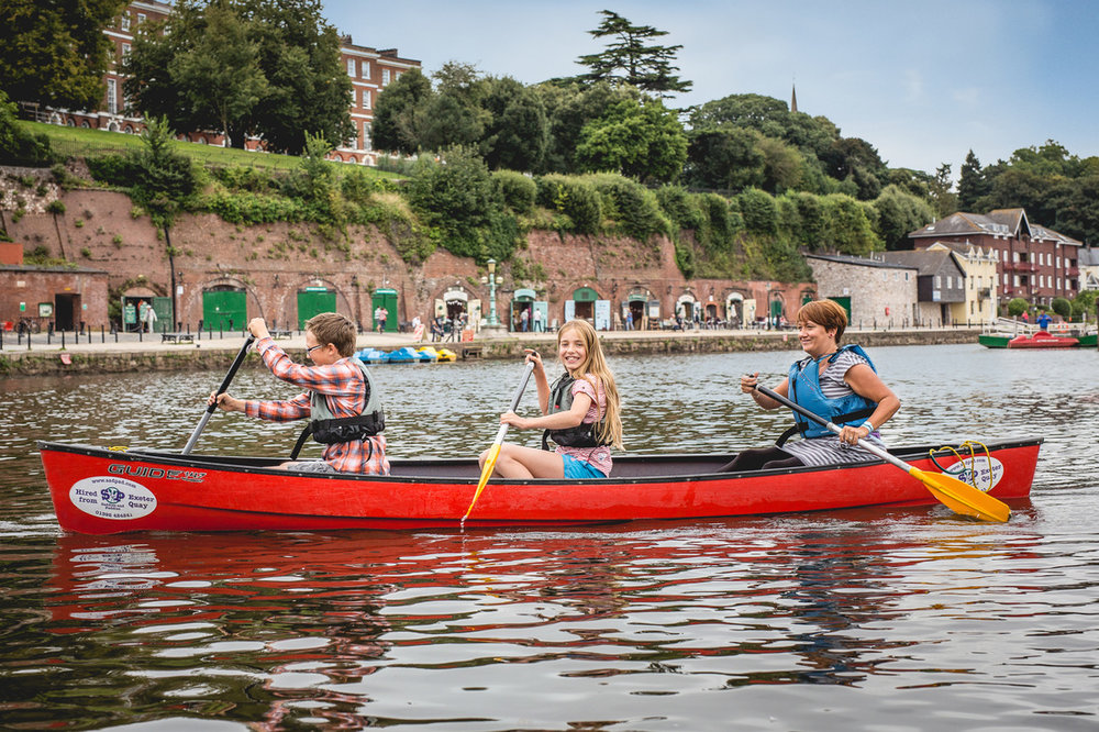 Take to the waterways from Exeter Quay and canoe/kayak or cycle along the riverside path to the Double Locks.    ££ | Saddles and Paddles | 14 The Quay, Exeter EX2 4AP |  Website