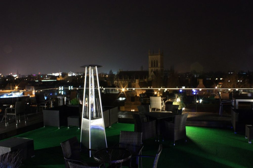Not only does The Varsity Hotel have a fantastic Roof Terrace, great views of the city and the occasional astronomy class.     ££ | The Varsity Hotel | Thompsons Ln, Cambridge CB5 8AQ |  Website