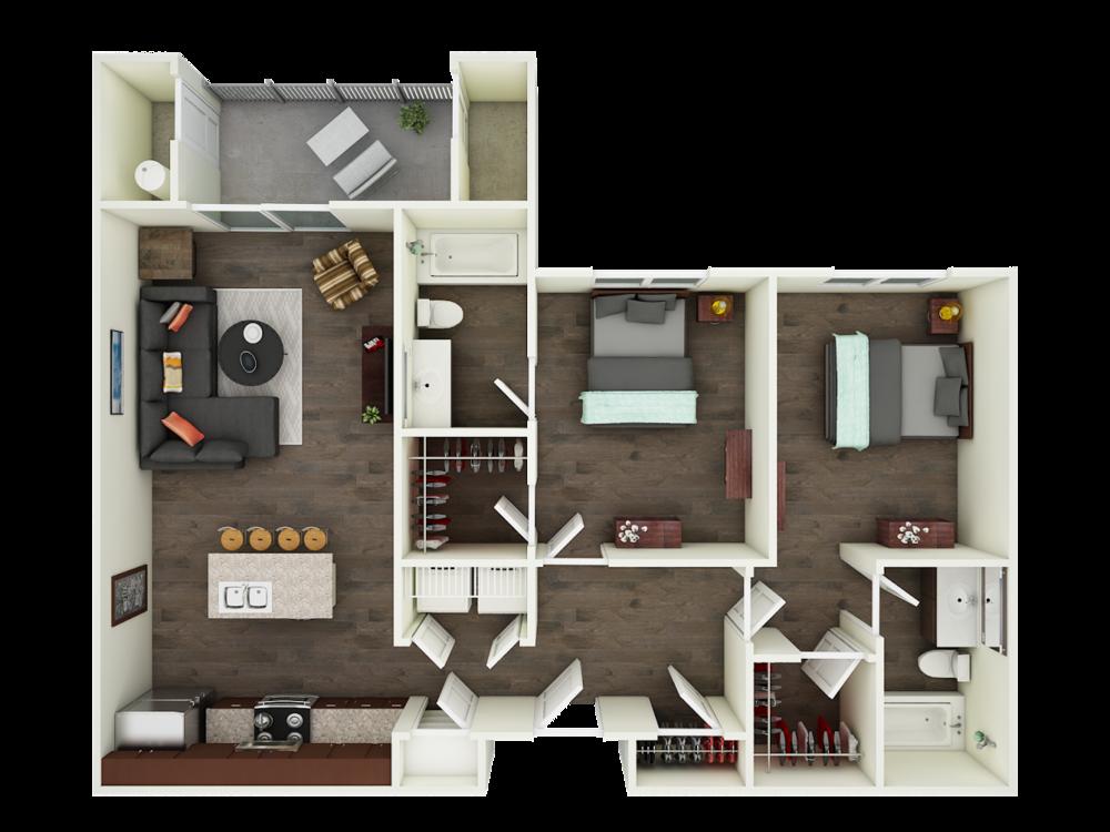 2 Bedroom 2 Bathroom Floor Plans