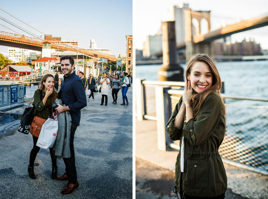 Newly engaged happy couple. Surprise proposal in DUMBO Brooklyn Bridge Park - www.cassiecastellaw.com