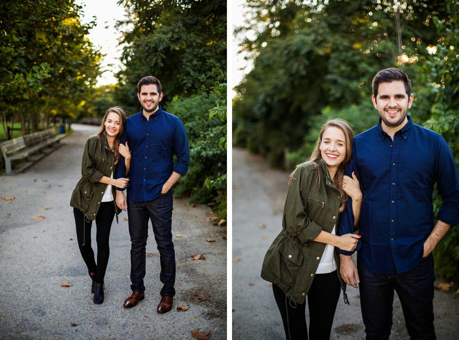 Casual lifestyle engagement photos in tree lined path DUMBO Brooklyn Bridge Park - www.cassiecastellaw.com
