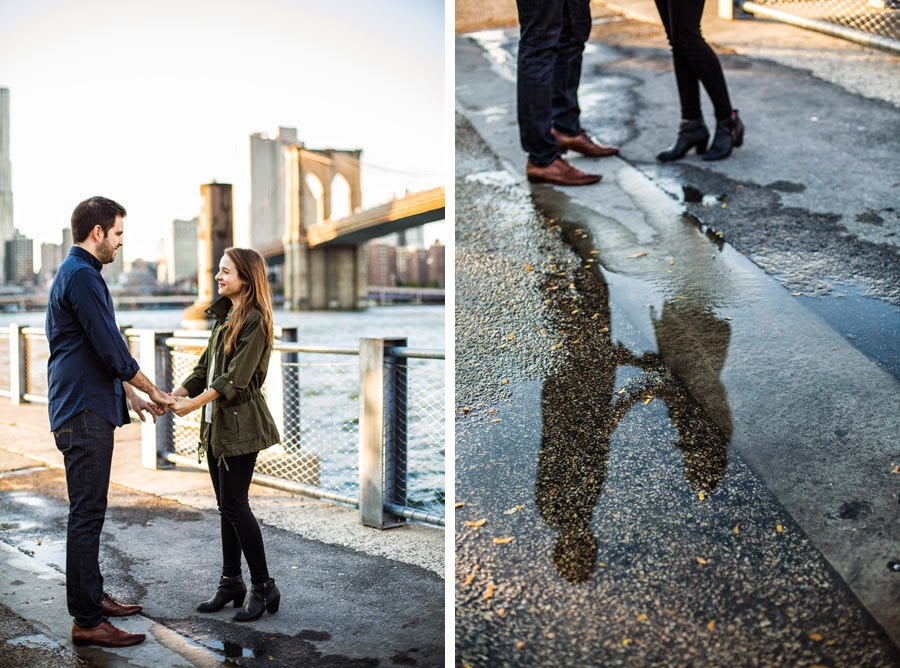 Creative lifestyle engagement portrait reflection in puddle Brooklyn NYC - www.cassiecastellaw.com