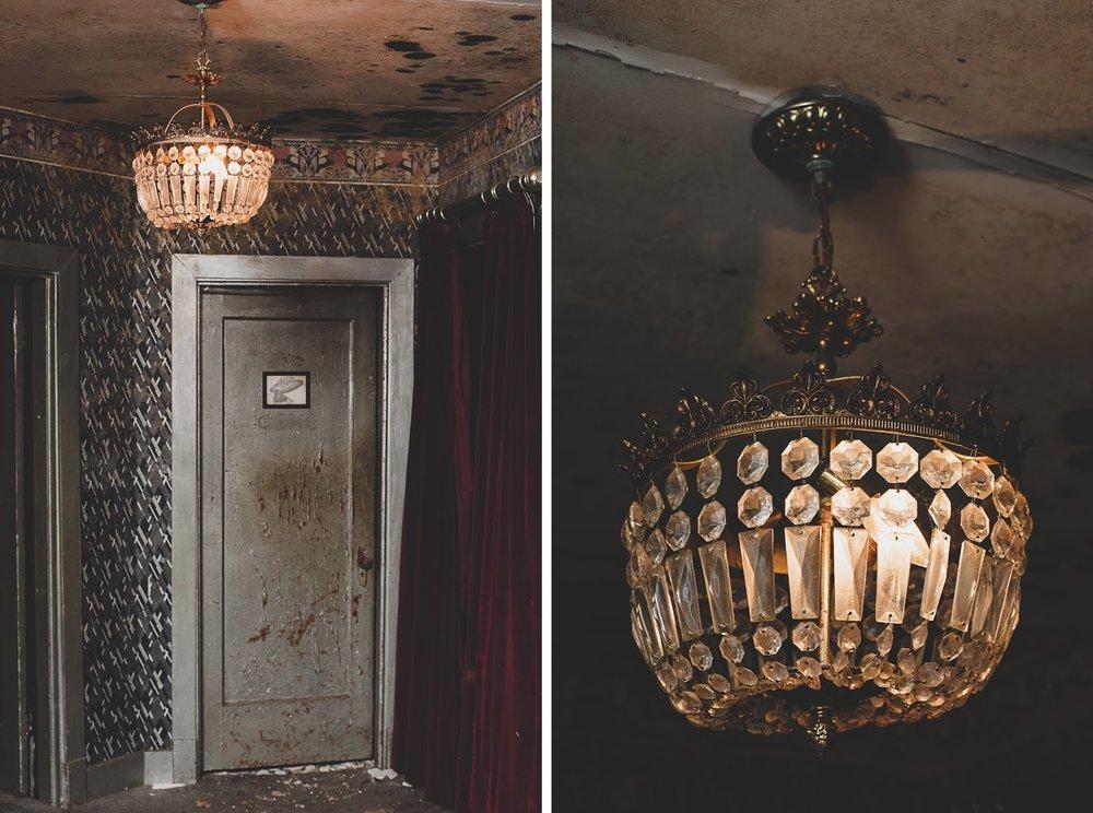 Art Deco brass chandelier in The Bells Theatre - bit.ly/bellstheatre