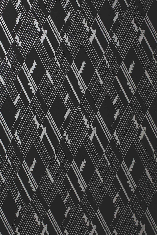 Art Deco geometric black and white wallpaper in Bells Theatre, Bells TN - bit.ly/bellstheatre