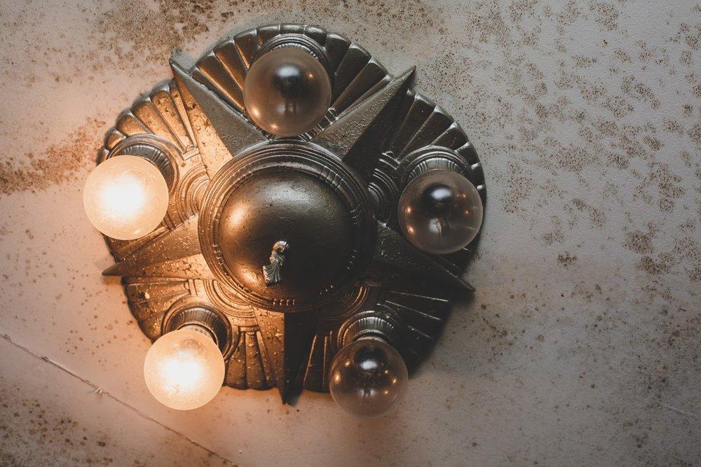 Silver Art deco starburst light fixture in Bells Theatre - Save the Bells Theatre! bit.ly/bellstheatre
