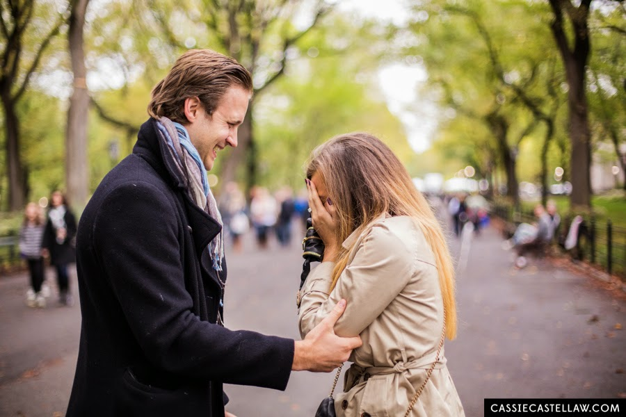 October surprise proposal at The Mall Central Park NYC - www.cassiecastellaw.com