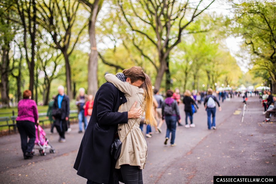 Emotional embrace after proposal in The Mall Central Park New York - www.cassiecastellaw.com