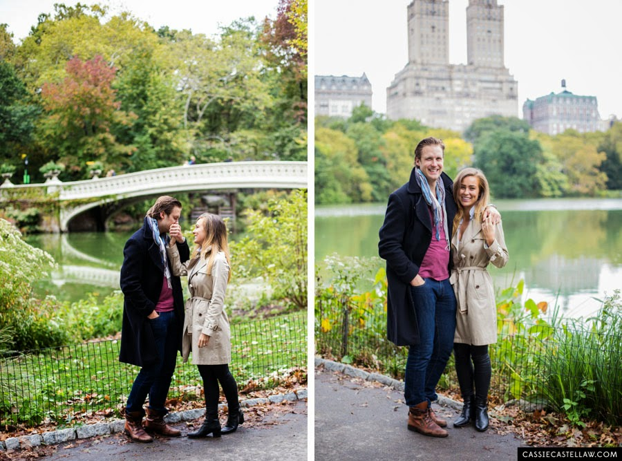 Lifestyle Engagement Session, Bow Bridge over the Lake in October, Central Park NYC - www.cassiecastellaw.com