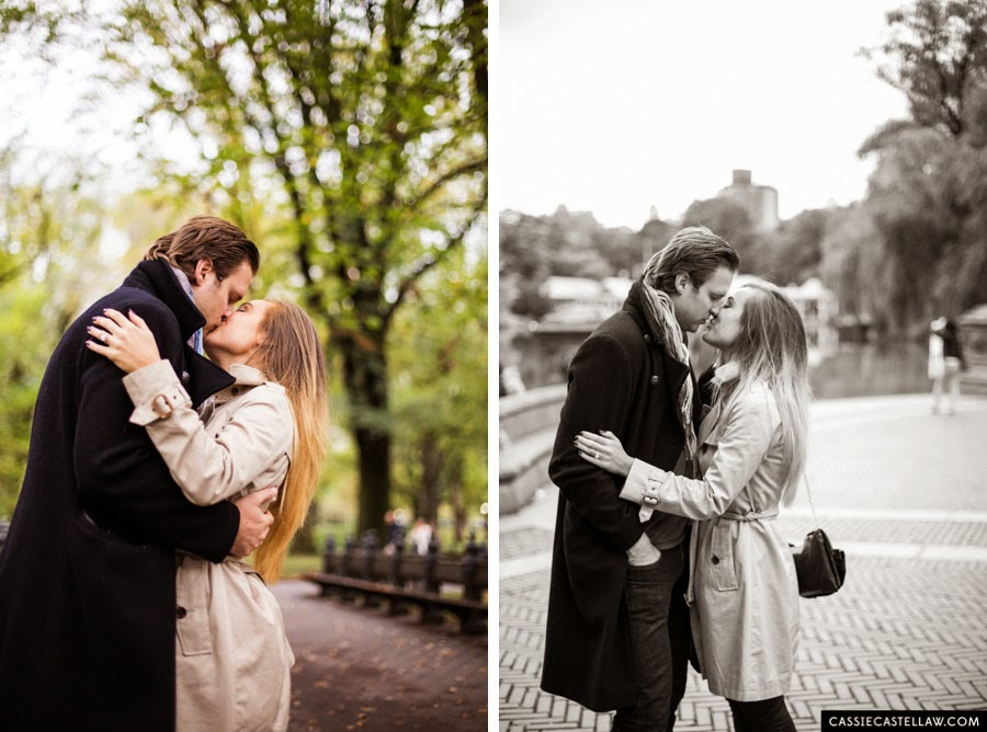 Lifestyle Engagement Session, Kiss at Loeb Boathouse Central Park NYC - www.cassiecastellaw.com