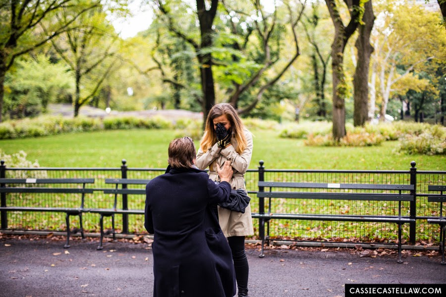 Central Park October Surprise Proposal + Lifestyle Engagement Portraits - www.cassiecastellaw.com