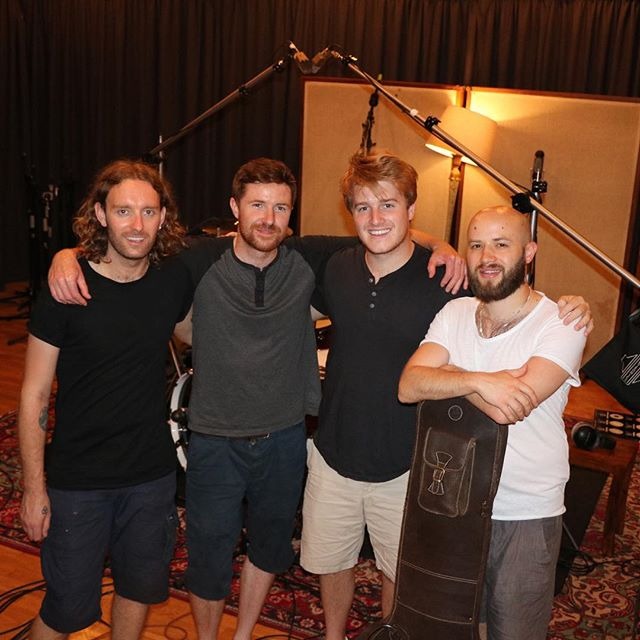 """Here is the crew that helped """"Come Back Home"""" come to life. @greeniedrums on percussion, @brendandaviesmusic producer and James slappin the bass."""