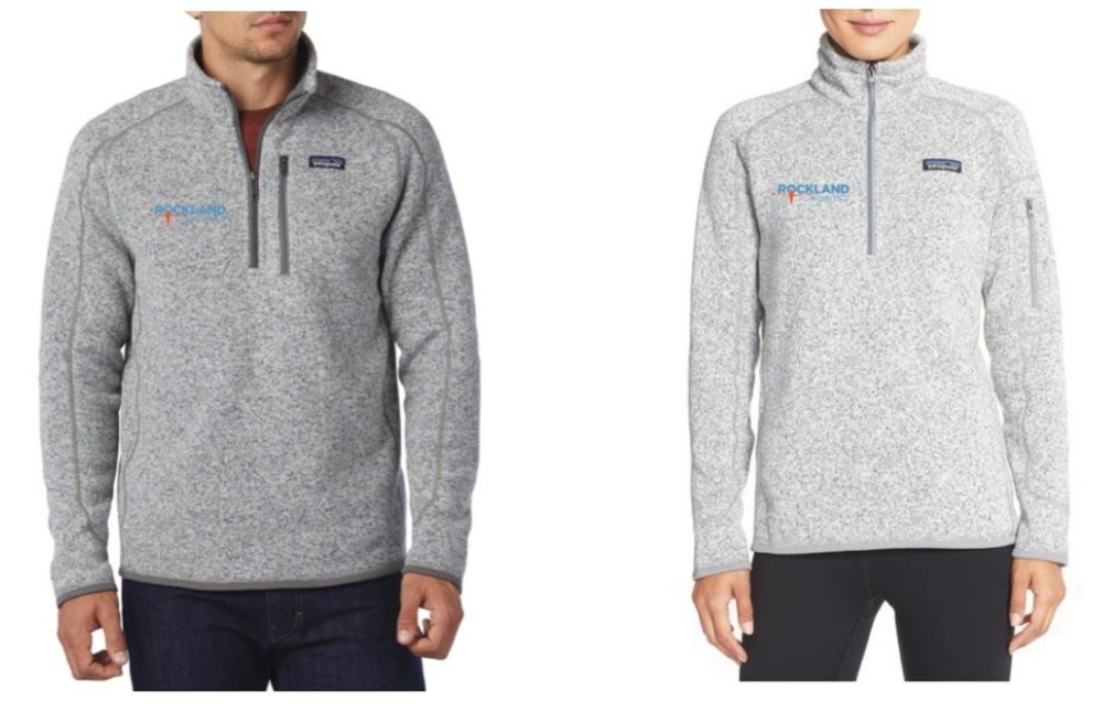 Patagonia Better Sweater, low bulk sweater made of knitted heathered polyester fleece in men's stonewashed and women's birch white - $80. Contact us to place an order by Sept 9.