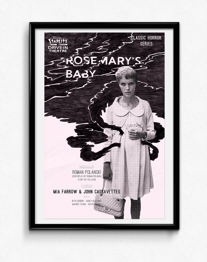 The Rosemary's Baby poster is to promote a movie showing at Blue Starlite Urban Drive-In for their October Classic Horror Series. The print poster is a souvenier item sold to guests at the showing. The animated poster is for web advertisements and, last, there is an e-mail to alert the Blue Starlite mailing list.