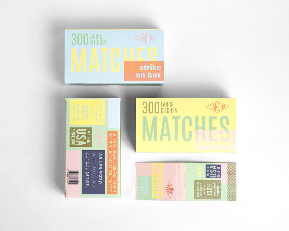 This rebrand of Diamond Matches highlights their commitment to environmental responsibility and attracts customers with the bold colors and typographic approach. I also re-used one of their vintage logos to go with the retro feeling of the boxes.