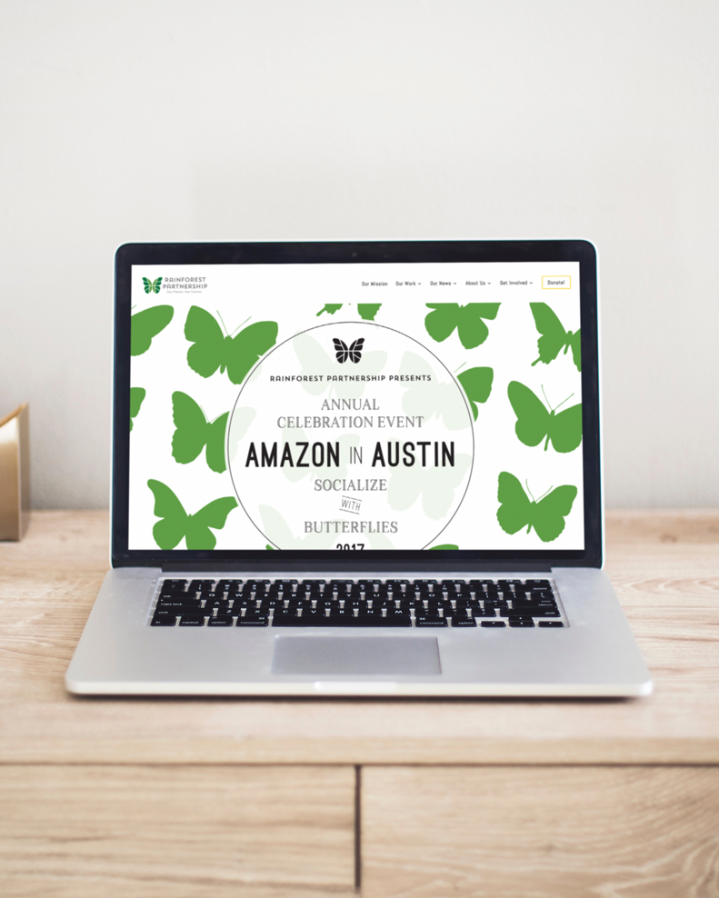 I created marketing materials for Rainforest Partnership's annual  Amazon in Austin  event for 2017.  This year, the event was to strengthen awareness and raise donations for a project to protect the rainforests' many threatened butterfly species, many of which cannot be found elsewhere on Earth.