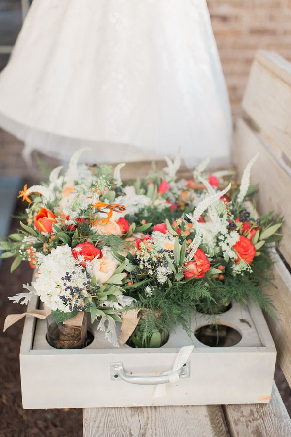 red pick up truck wedding - rustic wedding chicks