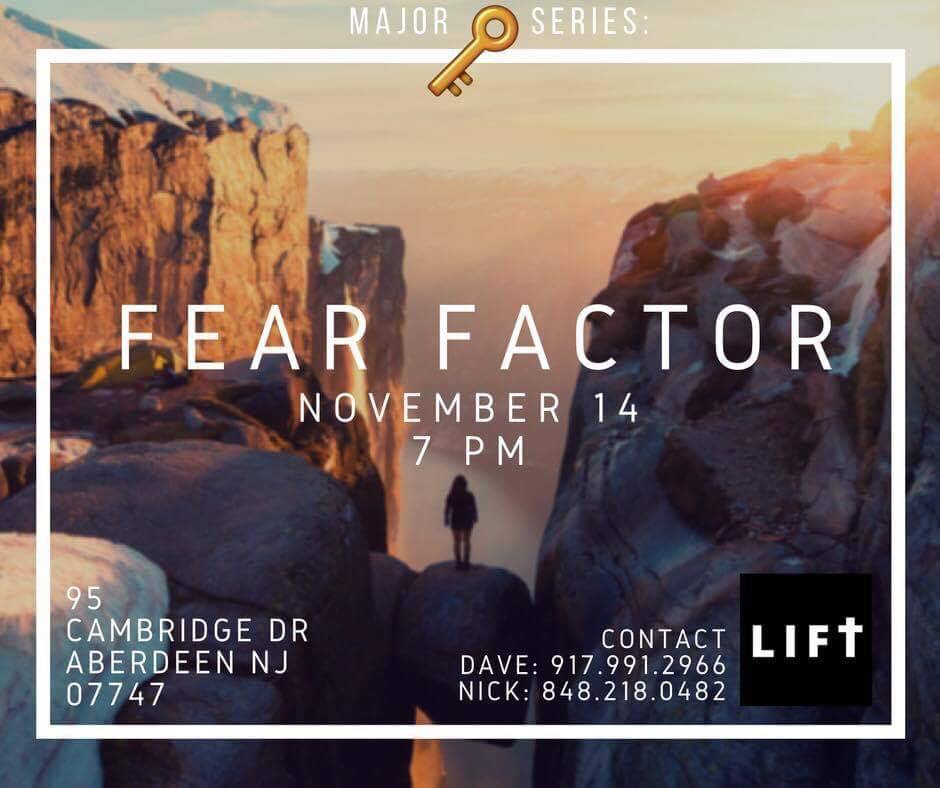 Join us on Monday 11/14 @ 7pm for our next LIFT. We will be encouraging each other as we discuss our topic of faith and fear. Food and refreshments will be provided as always. Hope to see you there and God Bless !