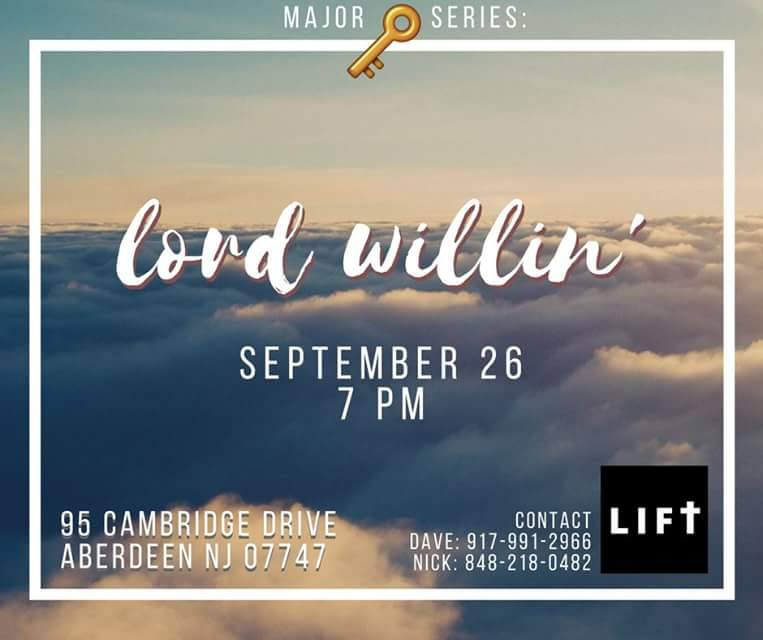 LIFT is back Monday 9/26 ! The topic will be understanding God's Will and his specific plans for our lives. Since it's Monday night football come wearing your favorite teams' apparel !! Wings and Tacos after !! Hope to see you there!