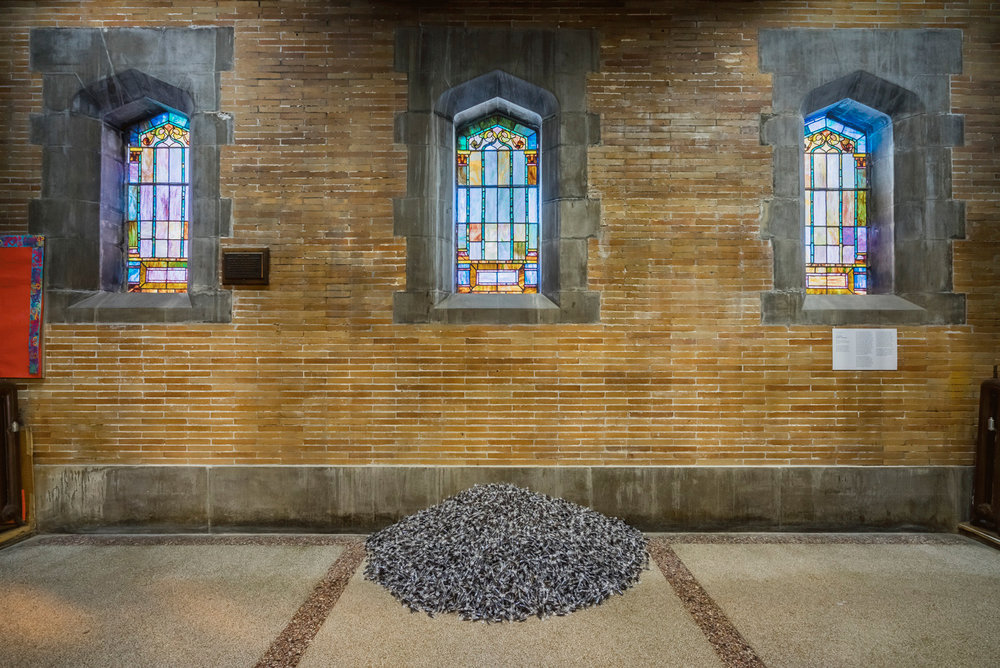 """Untitled"" (Public Opinion, by Felix Gonzalez-Torres at St. Philip's Church. Photo: Kristopher McKay, copyright Guggenheim Museum"