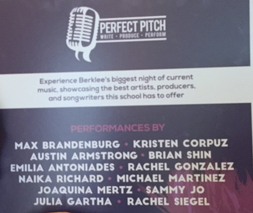 """Berklee Songwriters Club's """"Perfect Pitch"""" Showcase, March 31 2016, Berklee Performance Center, performer/artist, competition- received 3rd place."""