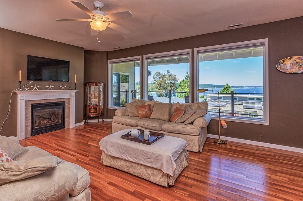 living space, port ludlow property, water view