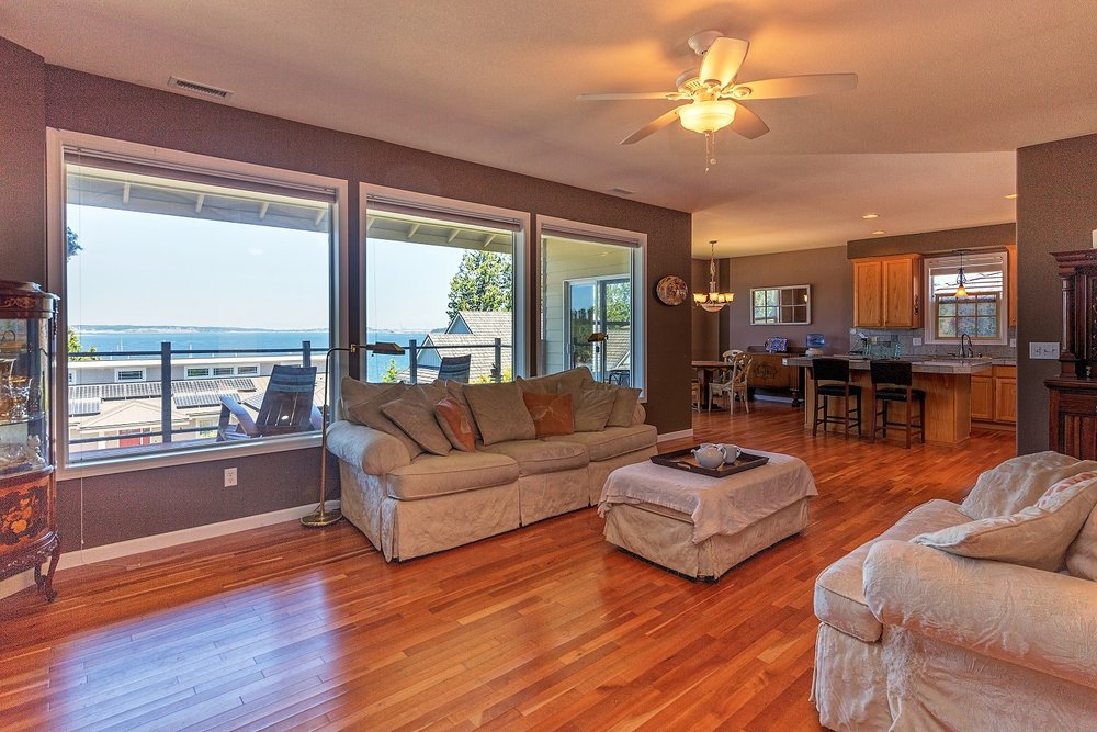 living space, open floor plan, water view