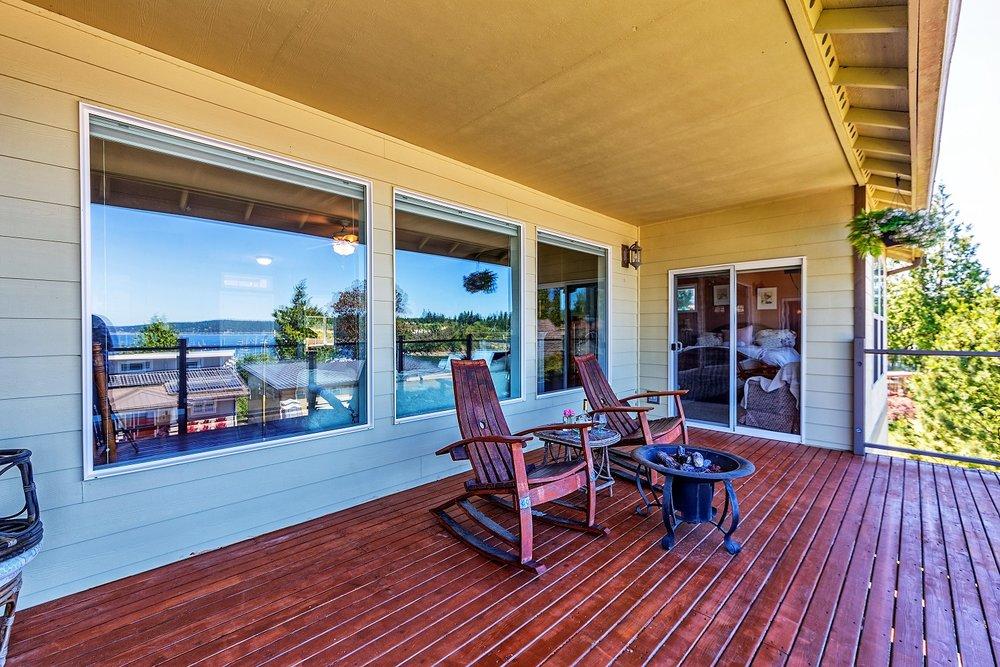 deck, windows, water view