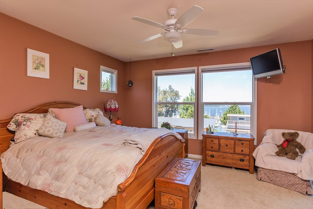 master bedroom, water view, port ludlow property