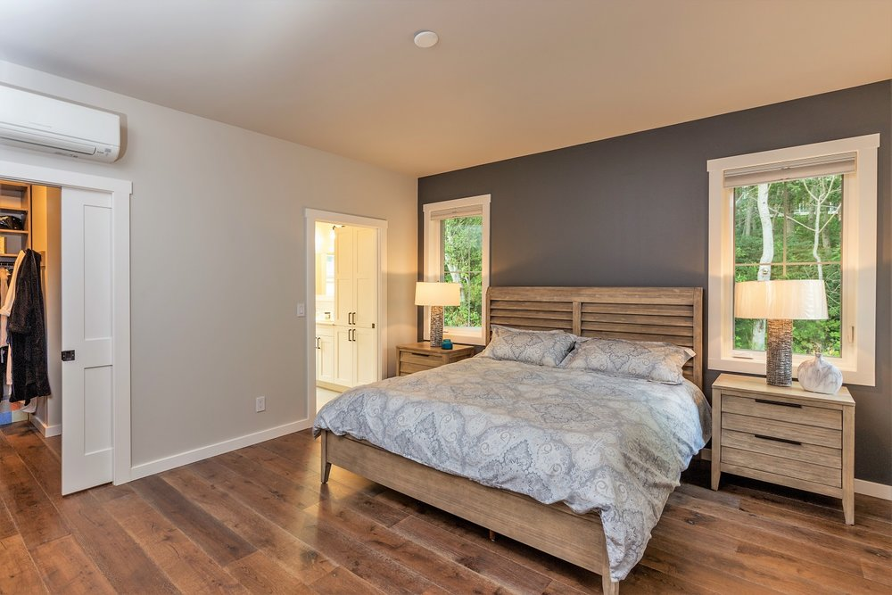 master bedroom, port ludlow property, custom home