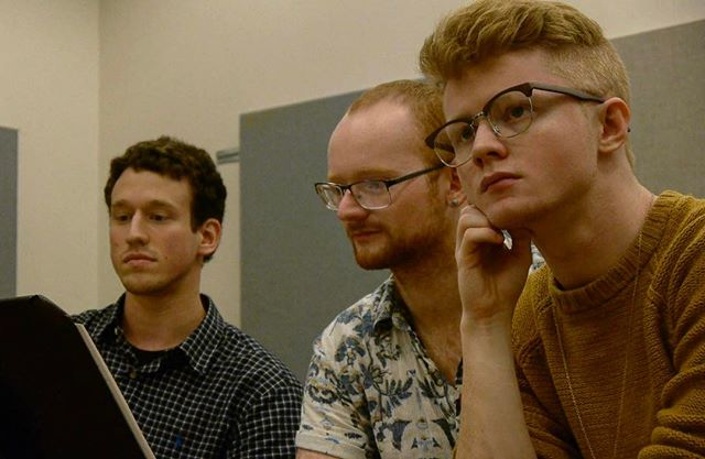 From L- R: Ben Morris (#music) and Will Inman (#book) follow the #score while #director Darian Silver's vision for the staging brews... #newmusical