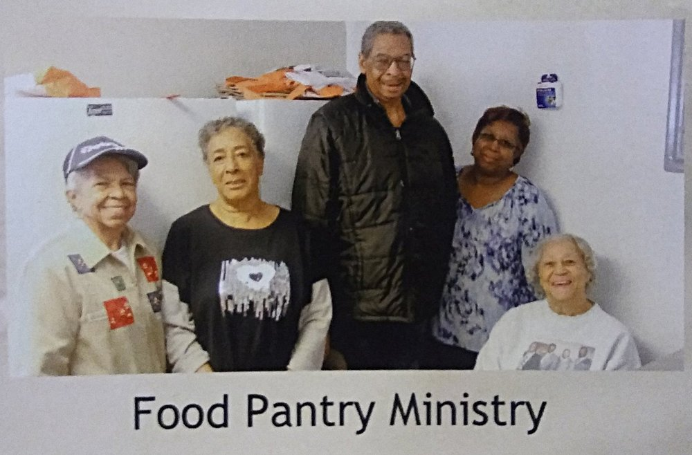 Our Food Pantry offers a reassuring word and a box of staple groceries to help those who need food support for themselves and their families.  IDs are required for each member of the household.