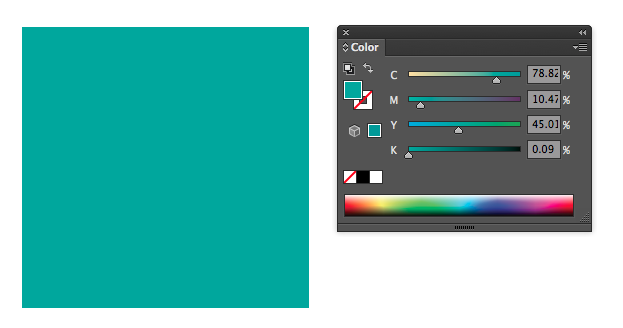 here you can see the percentages of CMYK that make up this color