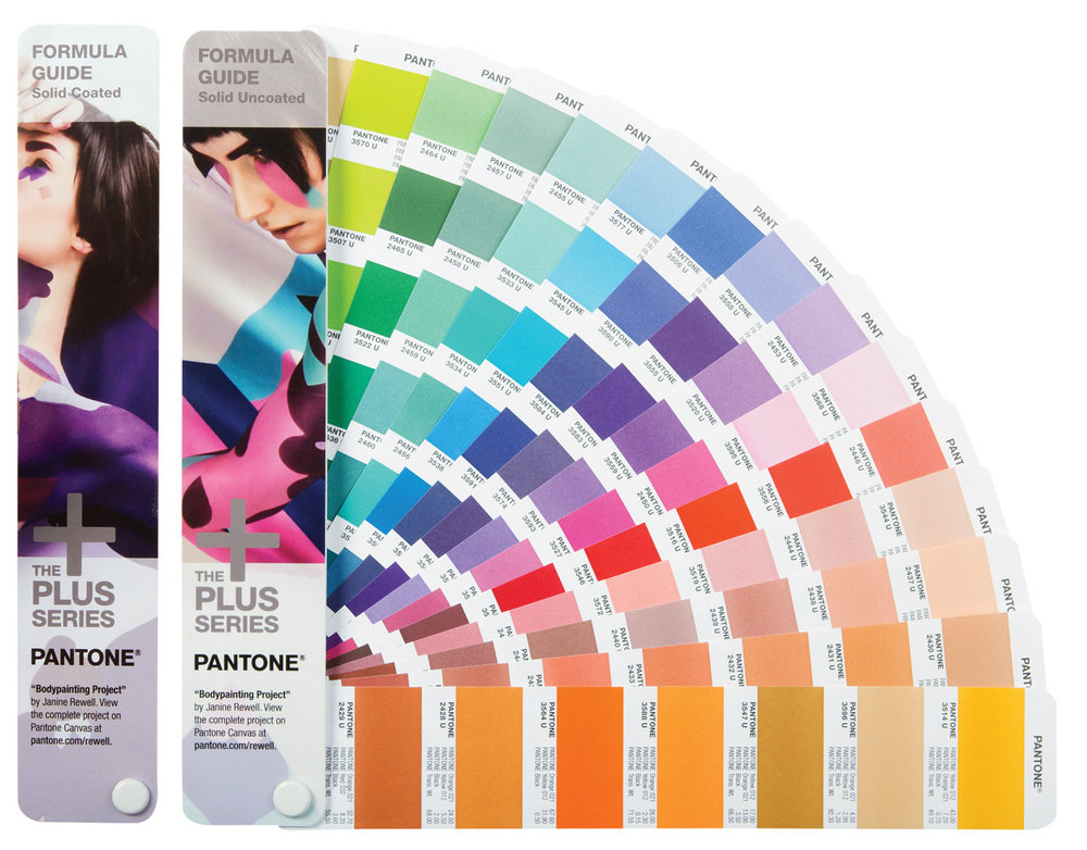 this fandeck has solid coated & uncoated swatches, and displays what group of pantone colors make up each swatch color in the deck