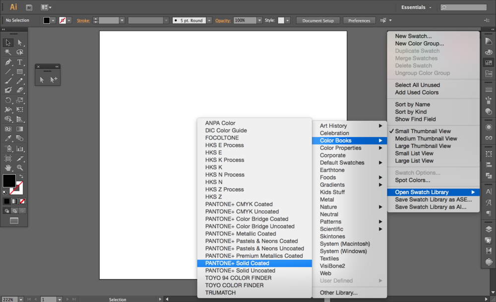 where to find the Pantone color palette in Adobe Illustrator