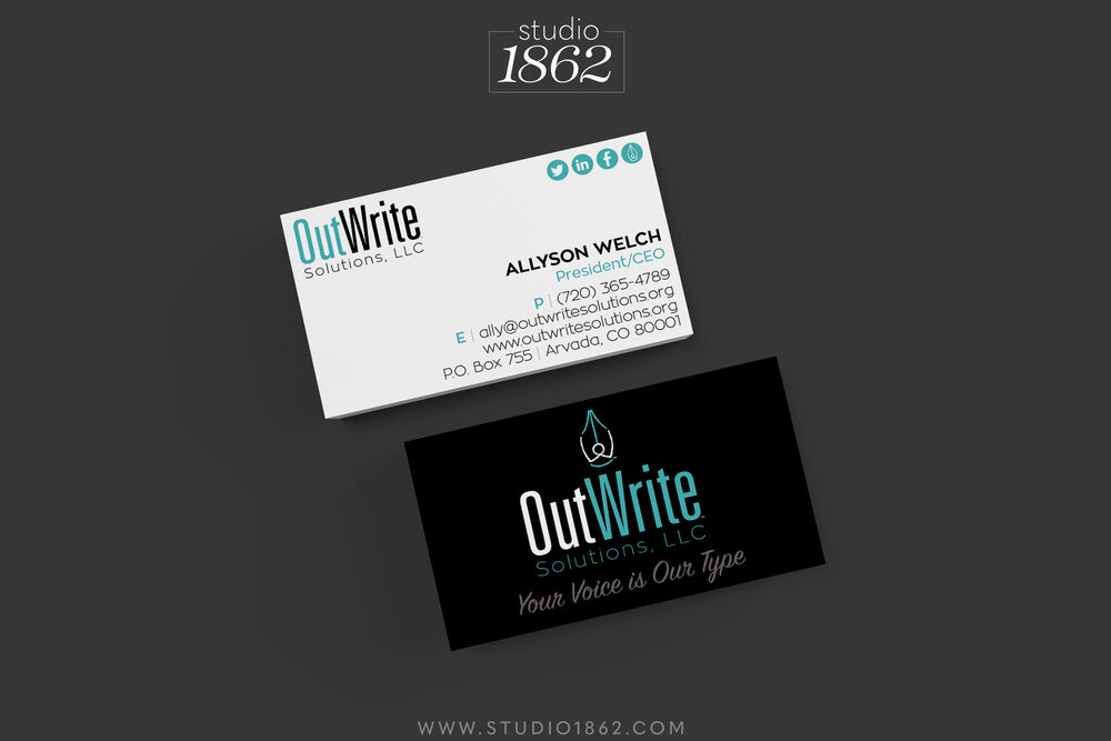 This is part of the the Brand Identity package design for OutWrite Solutions, LLC. Shown here: Business Cards (only).    Included in the package were: logo, letterhead, envelope, business card, and logo images appropriately sized for the various social media platforms Ally uses.