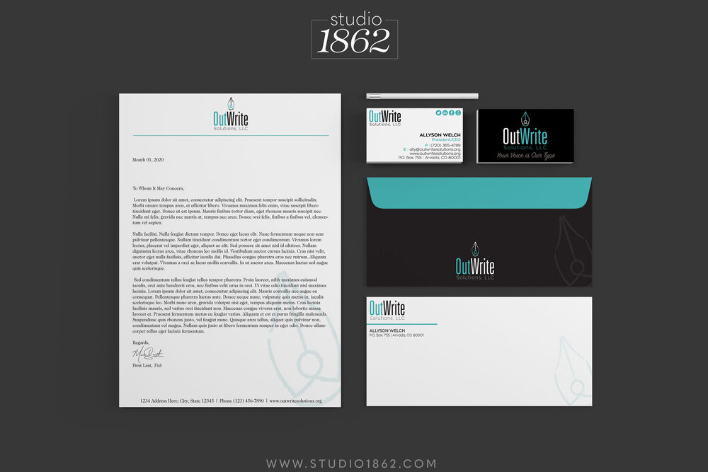 This is the Brand Identity package design set for OutWrite Solutions, LLC.    Included in the package were: logo, letterhead, envelope, business card, and logo images appropriately sized for the various social media platforms Ally uses.