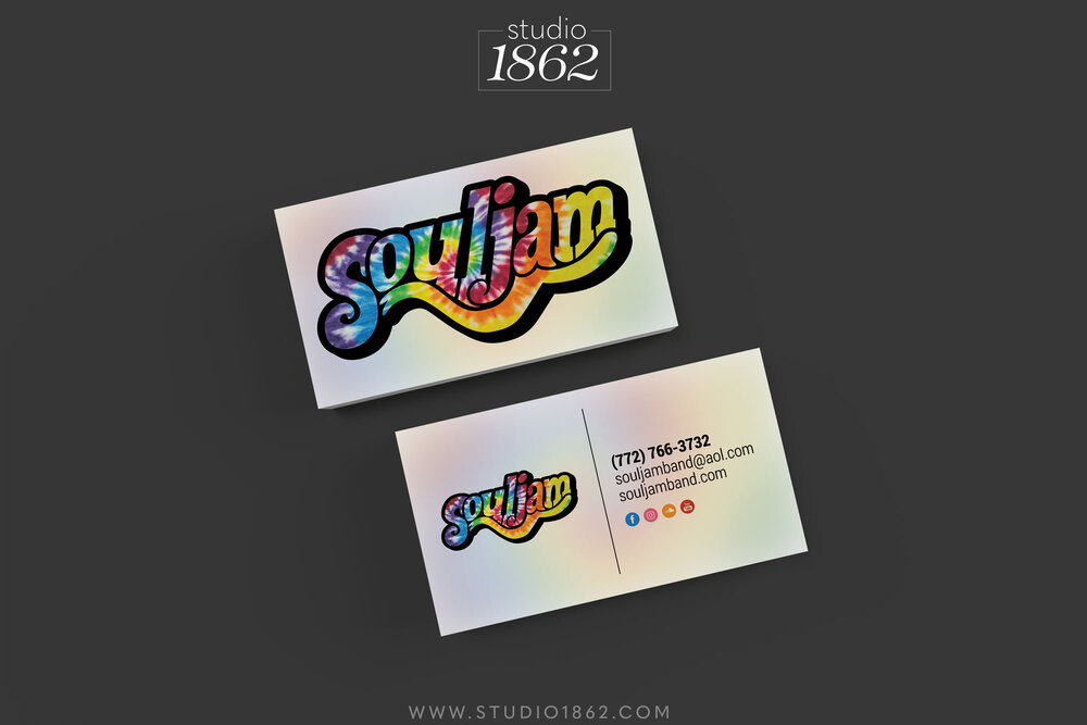 This is the design for Souljam's business cards, with their custom logo on both sides of the card, and their information only on the back.