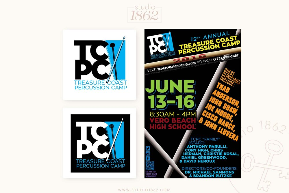 This simple logo and flyer design was for a summer event, the Treasure Coast Percussion Camp in Vero Beach, FL. The camp had never had a logo, and they wanted something fun, and energetic to advertise.