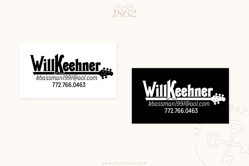 This design for business cards was created for a professional musician who plays bass guitar as well as the upright bass. He wanted something simple, creative, and clearly music-related.